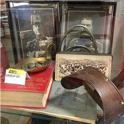 """Militaria: Boer War Buttons, Books (3), Stereoscope & War Slides,  & Framed Prints """"Admiral & Field"""