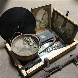 Militaria: Wooden Tray Lot - Civil War Era (Pot of Lead, Bent Rifle Barrel, Bullet Mould, Breech fro