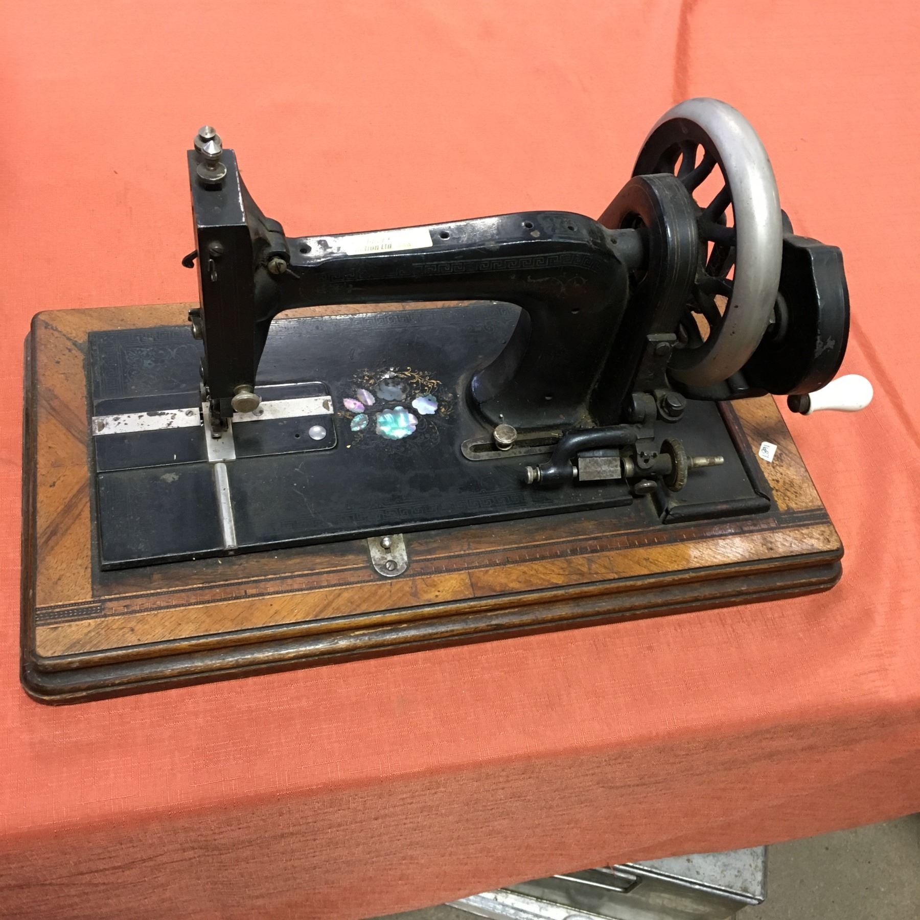 Table Top Hand Crank Antique Sewing Machine Inlaid Pearl Design