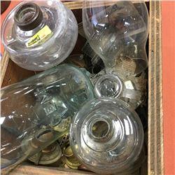 Tray Lot : Lamp Parts & Jem Jar