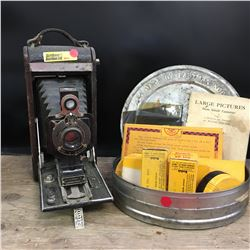 No.1-A Kodak Junior Canadian Kodak Co Bellows Camera w/ Film Reel Tin & Films