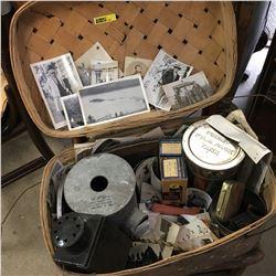 Picnic Basket w/ Photographs, Film, Premo Film Pack Tank, Projection Lamps, Sheet Medal Egg Candler,