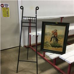 """Framed Painting """"The Scout"""" by T. Daly w/Easel"""