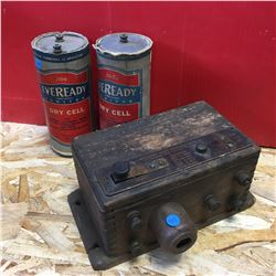 Eveready Dry Cell Batteries & Atwater Kent Spark Plug Tester