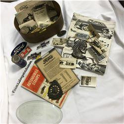 Automobilia Wooden Tray: Chev Enamel Bow Ties, Ford Bevelled Oval, Ontario Motor League Badge, Ephem