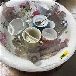 Wash Basin w/Labware Bottles, Moustache Cups, etc