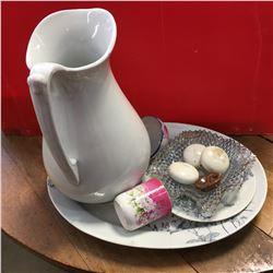 Pitcher (Staffordshire), Platter, Saucer, Porcelain Knobs & Chinaware