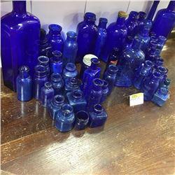 Large Cobalt Blue Bottle & Jar Collection