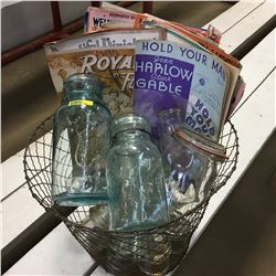 Wire Basket w/Jars, Bottles, Insulators & Sheet Music