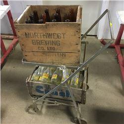 Bottle Cart w/Wooden Crates - Northwest Brewing (Original Bottles) & Orange Crush (Capital Beverages