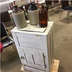 White Painted Ice Box Refrigerator w/Jug Trio
