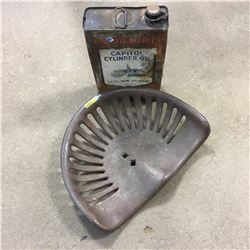 Oil Tin: Imperial Capitol Cylinder Oil for Steam Engine w/Cast Iron Implement Seat