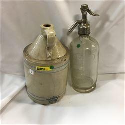 1/2 Gallon Crown Crock Jug & Seltzer Water Bottle