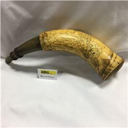 Scrimshaw Powder Horn - Fur Trade Era - Very Rare & Unique / One of a Kind!!!