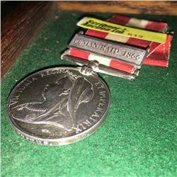 Militaria : War Medal : Pte L. Witton Fergus R Co.(Fenian Raid 1866)