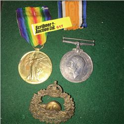 Militaria : War Medal (2) & Badge : 904040 Pte. E.L. Arnott (WWI Great War - 10 CAN INF) & (WWI 1914