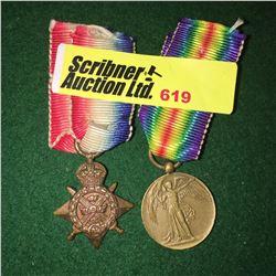 Militaria : War Medal : Miniatures 1914 Star (WWI Great War)