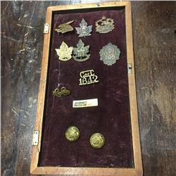 Militaria : Badges : 4 C.M.R.R. Overseas, 56 Overseas Batt. Calgary, 128 Overseas Moosejaw, XLVI Ove