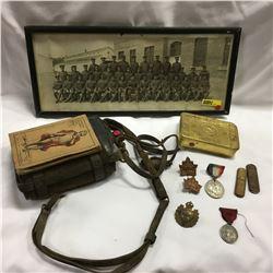 Militaria : Princess Mary Christmas Box, WWI Cap Badges (2), Photo Sergeants of 194 Batt. Edmonton J