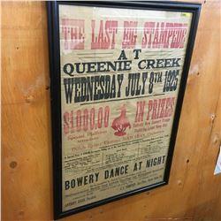 "Framed Poster ""The Last Big Stampede at Queenie Creek 1925""  (27"" x 39"")"