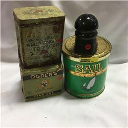 Insulators & Tobacco Tins Trio : Sail, Old Chum, Ogden's