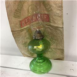 Green Glass Oil Lamp & Flour Sack