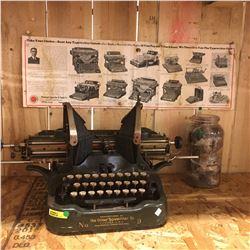 Oliver Typewriter No. 9 & Jar w/Typewriter Ribbons & Pittsburgh Typewriter & Supply Co. Ad