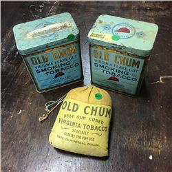 Tobacco Trio : Old Chum Tins (2) & Pouch (1)