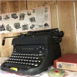 Remington Rand 17 Typewriter w/Typewriter Ribbons & Pittsburgh Typewriter & Supply Co. Ad