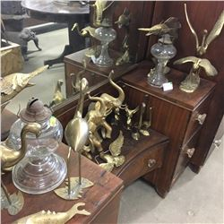 Large Brass Group & 2 Glass Oil Lamps