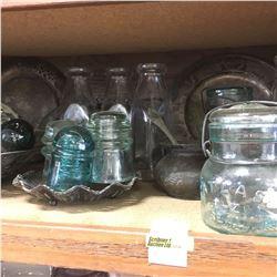Shelf Lot: Silverware w/Variety of Insulators & Dairy Bottles & Jars