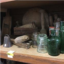 Shelf Lot: Treenware, Bells, Bottles, Jars & Insulators