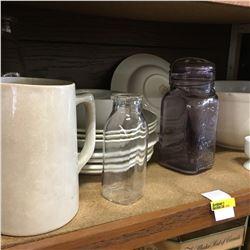 Shelf Lot: Collection of Sleepy Indian/Medalta Bowls & Plates with Jars, Bottles & Egg Cups