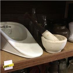"""Shelf Lot: """"The New Slipper Bed Pan"""", Milk Glass Lamp & Bottles"""