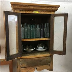 Wooden Medicine Cupboard (Countertop or Wall Mount) WITH Miniature Bottle Collection !