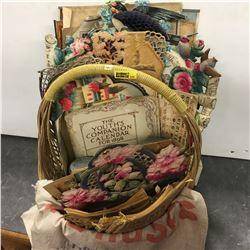 Basket Lot: Calendars, Books, Jars