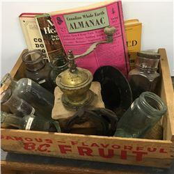 Fruit Crate w/Bottles, Coffee Grinder, Horse Shoes, Almanac, etc