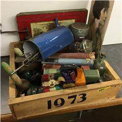 "Wooden ""1973"" Box Lot ""Collector Starter Kit!"" (Books, Knobs, Jars, etc)"