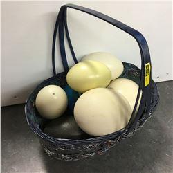 Blue Basket : Ostrich Eggs