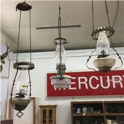 Trio of Hanging Coal Oil Parlor / Hall Lamps