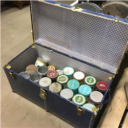 Blue Steamer Trunk w/Tobacco Tin Collection