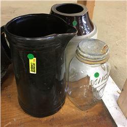 Collectors Combo: Crock, Pitcher & Jar