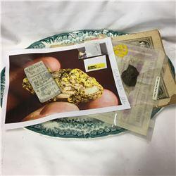 Platter w/Gold Quartz Nugget, Zinc Bar, Old Mining Certificate