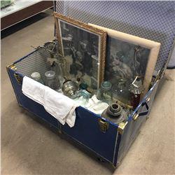 Blue Steamer Trunk w/Contents (Jars, Lamps, Bottles, Framed Prints, etc)