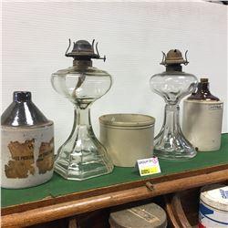 Crocks (3) & Lamps (2)  (Vinegar)