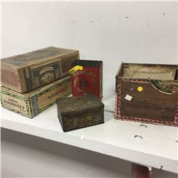 Old Virginia & Benton Mixture Tobacco Tins & 3 Cigar Boxes