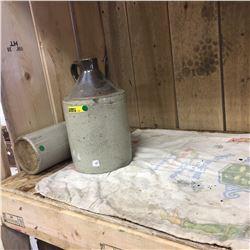 1/2 Gallon Crown Crock Jug & Middleton Junction Pottery Jar