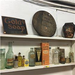 GOLD SOAP Sign & Kodiak Herring Barrel Lid, Huntley & Palmers Ltd Biscuit Tin + Large Grouping of Co