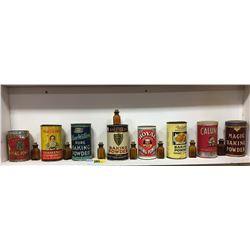 Collection of Variety/Unique Baking Powder Tins (8) & Brown Mini Bottles