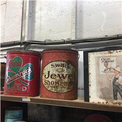 Shelf Lot: Large Tins (Shamrock, Jewel, Cream of Wheat)